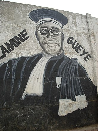 Maurice Yaméogo - Portrait of Lamine Guèye, fresco in Dakar.