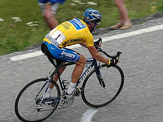 Lance Armstrong - Armstrong wearing the yellow jersey at the 2005 Tour de France.