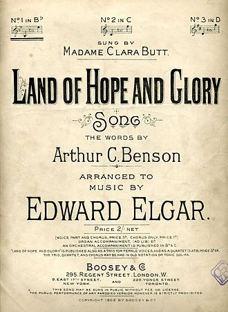Land of Hope and Glory - Image: Land of Hope and Glory by Elgar song cover 1902
