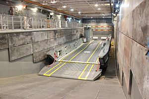 HMAS Canberra (L02) - LLC landing craft on the well deck of Canberra
