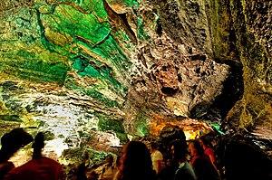 Cueva de los Verdes - Tourists visit the cave interior