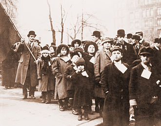 1912 Lawrence textile strike - Parents sending their children to live with supporters in other cities.