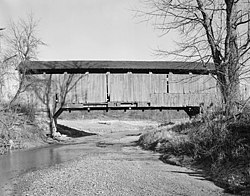 Leatherwood Station Covered Bridge BW.jpg