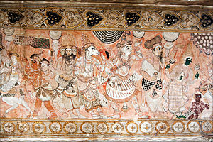 Veerabhadra Temple, Lepakshi - Paintings in the ceiling of the Muka mantapa