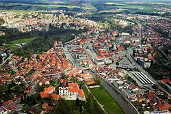 Aerial view of center of Třebíč
