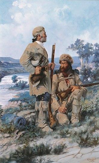 "Edgar Samuel Paxson - ""Lewis at Black Eagle Falls,"" Montana Capitol"