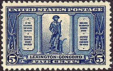 The statue of a minuteman, reproduced upon a blue, five-cent stamp