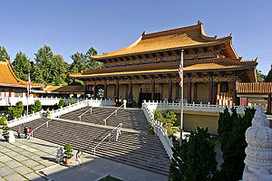 Buddhism in the United States - Covering 15 acres (61,000 m²), California's Hsi Lai Temple is one of the largest Buddhist temples in the western hemisphere.