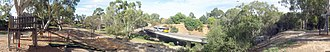 O-Bahn Busway - 180° panorama showing the O-Bahn track and a bus as it crosses the River Torrens at Dunstan Adventure Playground in St Peters