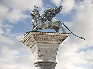 Lion of Venice - The Lion seen from ground level in 2017.