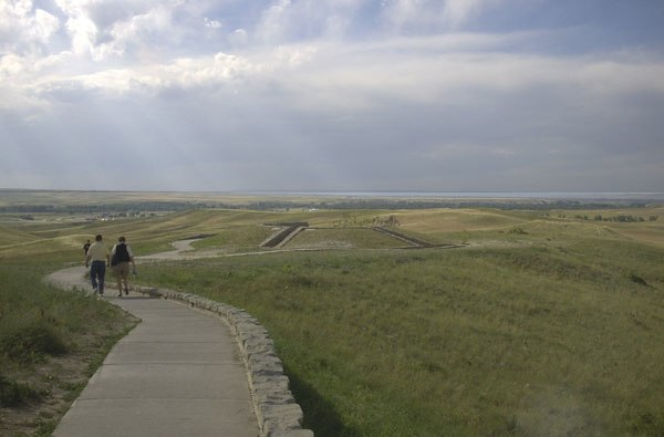 Little bighorn memorial overview with clouds