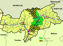 Eisacktal (highlighted in green) within South Tyrol; the yellow-black stripes mark the geographical extent of the valley