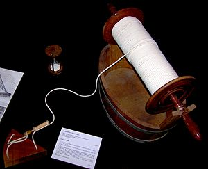 Chip log - Ship log and associated kit.  The reel of log-line is clearly visible. The first knot, marking the first nautical mile is visible on the reel just below the centre. The timing sandglass is in the upper left and the chip log is in the lower left.  The small light-coloured wooden pin and plug form a release mechanism for two lines of the bridle.   From the Musée de la Marine, Paris.