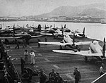 Lockheed F-80s of the 36th Fighter Wing aboard USS Sicily (CVE-118), circa in august 1948.jpg