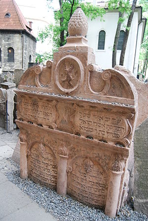 Judah Loew ben Bezalel - His tombstone in the Old Jewish Cemetery, Prague.