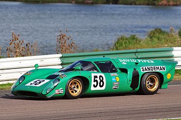 A picture of a green racing sports car on a track with a lake in the background