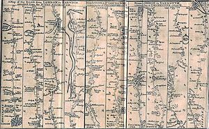 A12 road (England) - J Gibson's 1776 map of a road from London to Great Yarmouth. The original route of the A12 mostly ran on this alignment, particularly the Roman Road from London to Colchester.