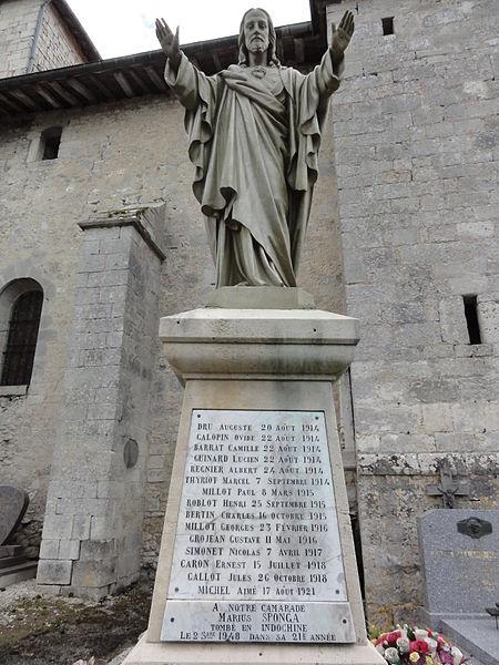 Longeaux (Meuse) monument aux morts statue Sacré-Coeur