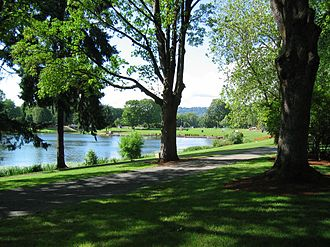 Longview, Washington - A former slough, Lake Sacajawea was created during the construction of Longview
