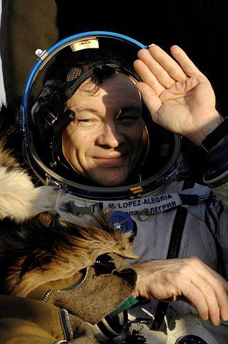 Michael López-Alegría - López-Alegría after landing of Soyuz TMA-9 spacecraft in Kazakhstan.