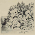 Louisa May Alcott 1869 sketch of Thoreau in boat Walden.png