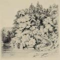 Louisa May Alcott 1869 sketch of Thoreau in boat Walden.png