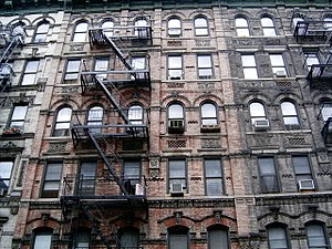 Tenement buildings in the Lower East Side of M...