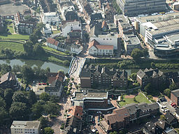 Bridge over the river Lippe in Lünen, aerial view