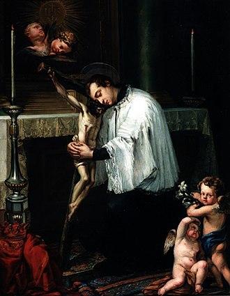 Luis López Piquer - Saint Luis Gonzaga Hugging a Crucifix.