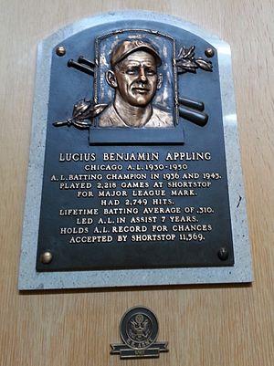 Luke Appling - Appling's plaque at the Baseball Hall of Fame