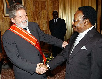 Omar Bongo - Omar Bongo with the President of Brazil, Lula da Silva.