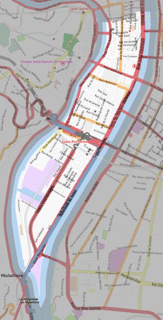 2nd arrondissement of Lyon - Plan of the 2nd arrondissement of Lyon