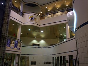Memorial Athletic and Convocation Center - View of main lobby showing elevator and third floor