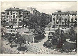 Trams in Milan - A tram in Piazza Ascoli, 1964.