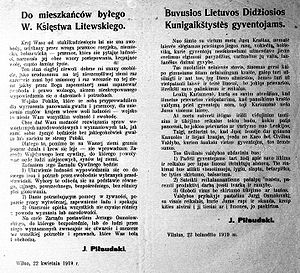 Proclamation to the inhabitants of the former Grand Duchy of Lithuania - Piłsudski's bilingual proclamation To the Inhabitants of the Former Grand Duchy of Lithuania (April 22, 1919)