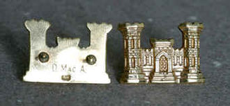 MacArthur was an engineer for the first 14 years of his military career. He received these golden castle pins as a gift upon graduation. He carried these pins with him for over 40 years and in 1945 gave them to Major General Leif J. Sverdrup of the Army Corps of Engineers who he thought was more deserving to wear the pins. After Sverdrup gave them to the Chief of Engineers in 1975 every Chief of Engineers since then has been given MacArthur's pins. MacArthur castle.jpg