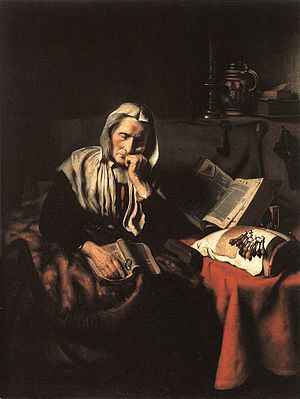 Nicolaes Maes - An Old Woman Dozing by Nicolaes Maes (1656) Oil on canvas, 135 x 105 cm. Musées Royaux des Beaux-Arts, Brussels