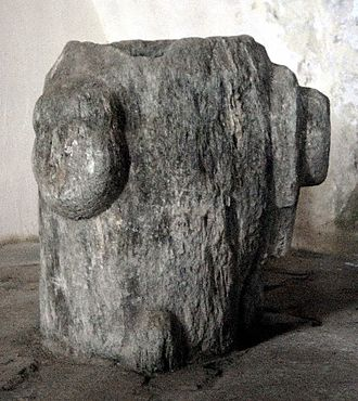Magdalensberg - Three headed stone from Magdalensberg, said to be an inculturation of the Slavic divinity Triglav