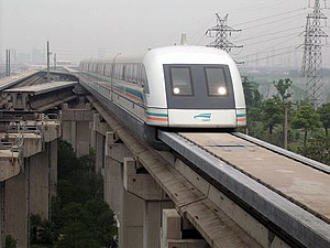 Shanghai Maglev Train on the track