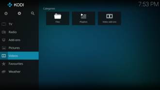 Kodi (software) - Image: Main Screen Estuary 17.6