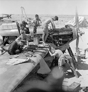 No. 274 Squadron RAF - Groundcrew of No. 274 Squadron overhaul a Hawker Hurricane Mark I during the siege of Tobruk.