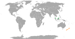 Map indicating locations of Malaysia and New Zealand