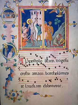 Bartholomew the Apostle - St Bartholomew Manuscript Leaf with the Martyrdom of Saint Bartholomew, from a 'Laudario', by Pacino di Bonaguida c.1340 Florence