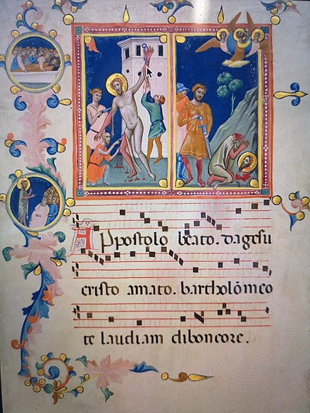St Bartholomew Manuscript Leaf with the Martyrdom of Saint Bartholomew, from a 'Laudario', by Pacino di Bonaguida c.1340 Florence Manuscript Leaf with the Martyrdom of Saint Bartholomew, from a Laudario by Pacino di Bonaguida.jpg