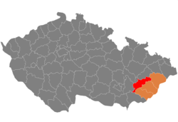 District location in the منطقه زلین within the Czech Republic