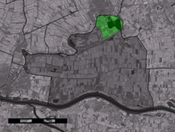 The village centre (dark green) and the statistical district (light green) of Asperen in the municipality of Lingewaal.