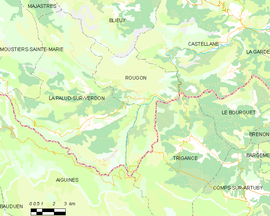 Mapa obce Rougon