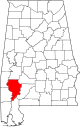 Map of Alabama highlighting Clarke County.svg