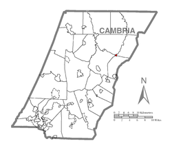 Map of Cambria County, Pennsylvania highlighting the town of Ashville