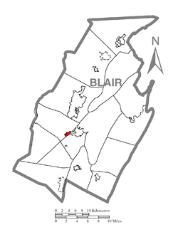 Location of Duncansville in Blair County